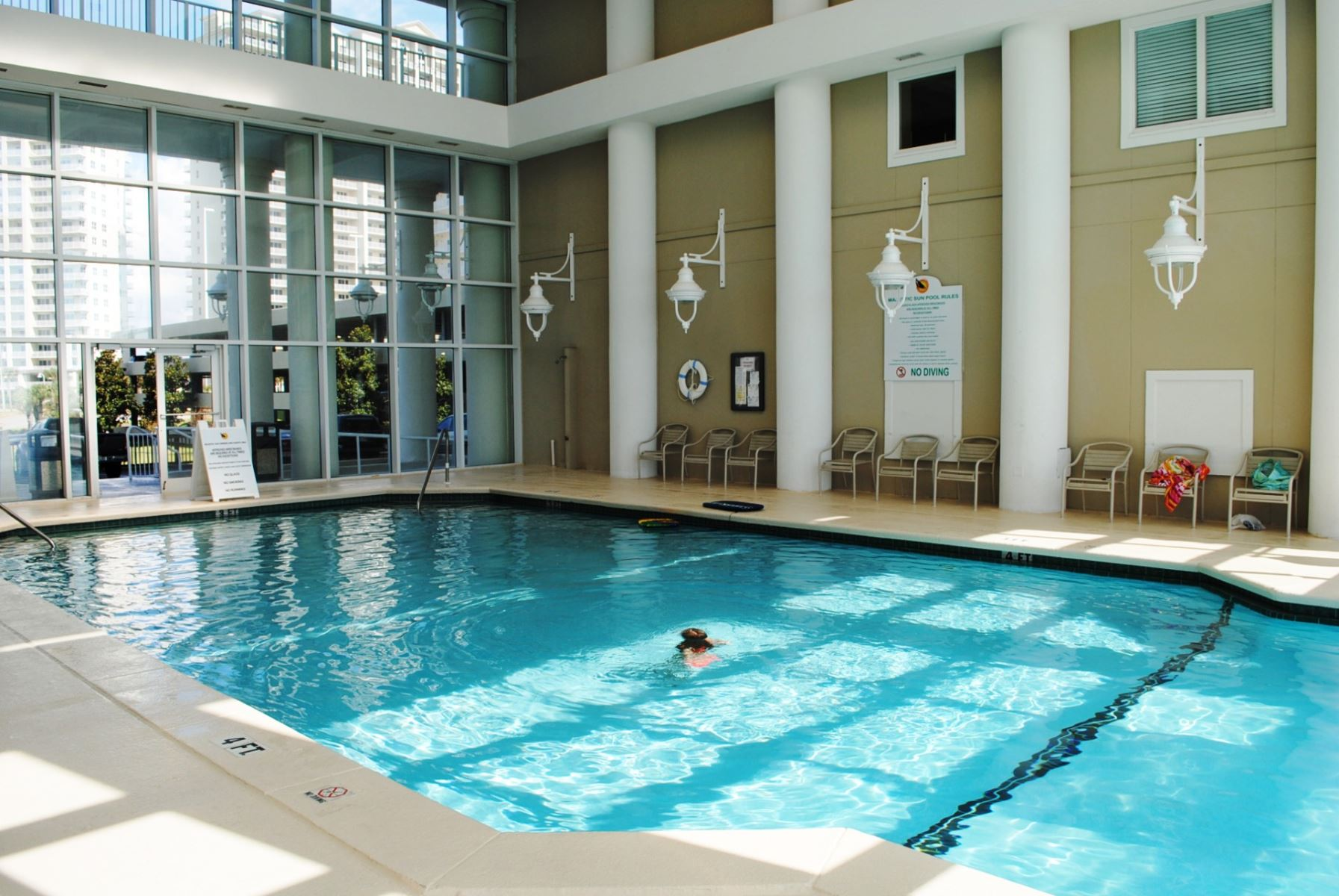 Large Indoor Pool Heated in Winter at Majestic Sun in Miramar Beach near Destin FL